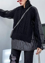 Load image into Gallery viewer, Aesthetic black knit blouse o neck patch work fashion spring knit sweat tops
