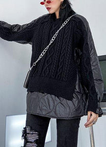 Aesthetic black knit blouse o neck patch work fashion spring knit sweat tops