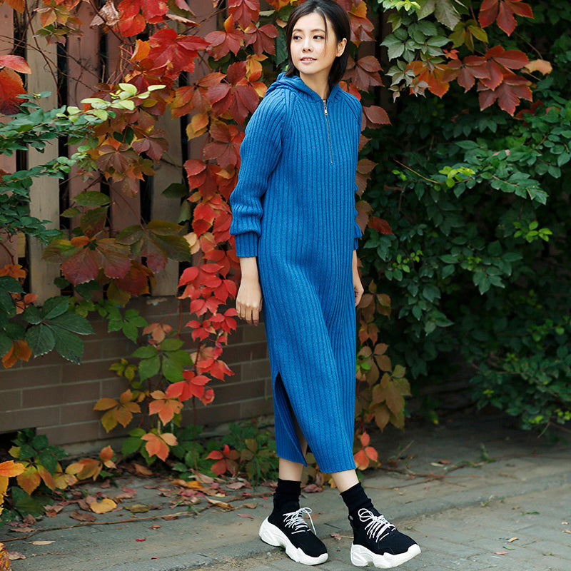 7d1e403063a ... Aesthetic blue Sweater outfits plus size tunic hooded side open knit  dress ...