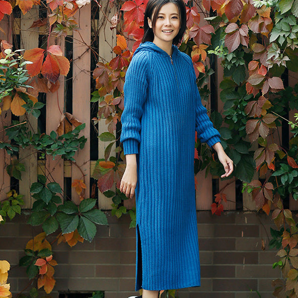 bcdc02b8c6c ... Load image into Gallery viewer, Aesthetic blue Sweater outfits plus  size tunic hooded side open ...