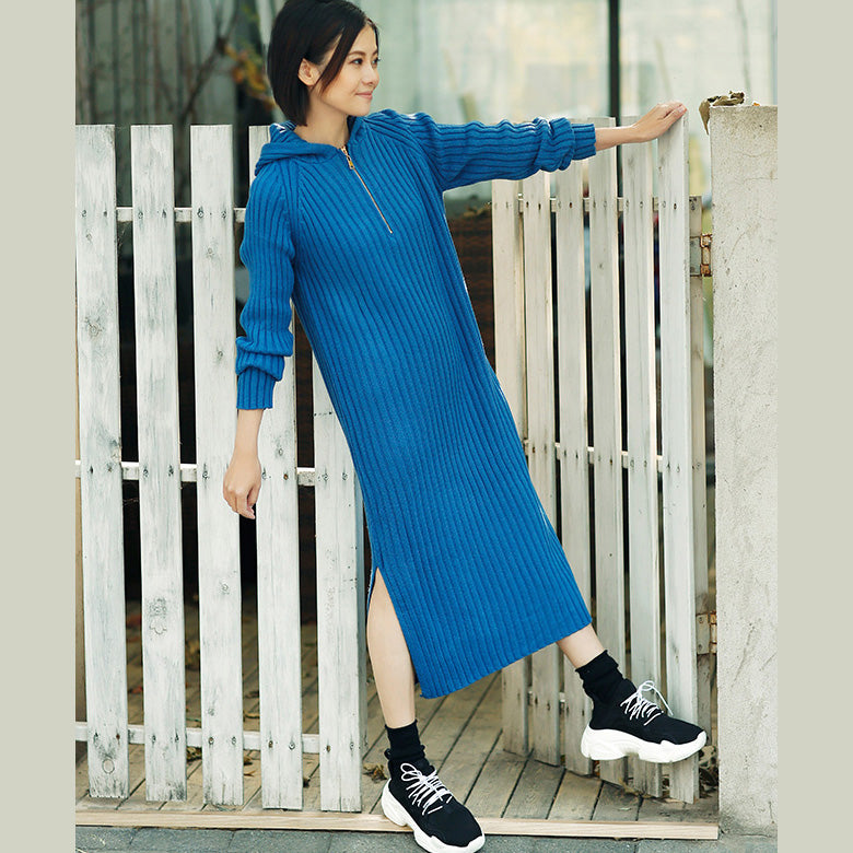 Aesthetic Blue Sweater Outfits Plus Size Tunic Hooded Side Open Knit D Soolinen