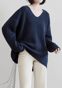 Aesthetic dark blue sweater tops v neck Batwing Sleeve casual knit tops