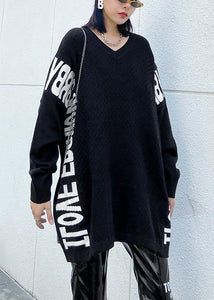 Aesthetic fall black Letter sweaters casual o neck knitted t shirt