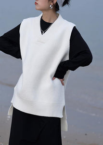 Aesthetic fall white knit sweat tops oversized v neck low high design tops