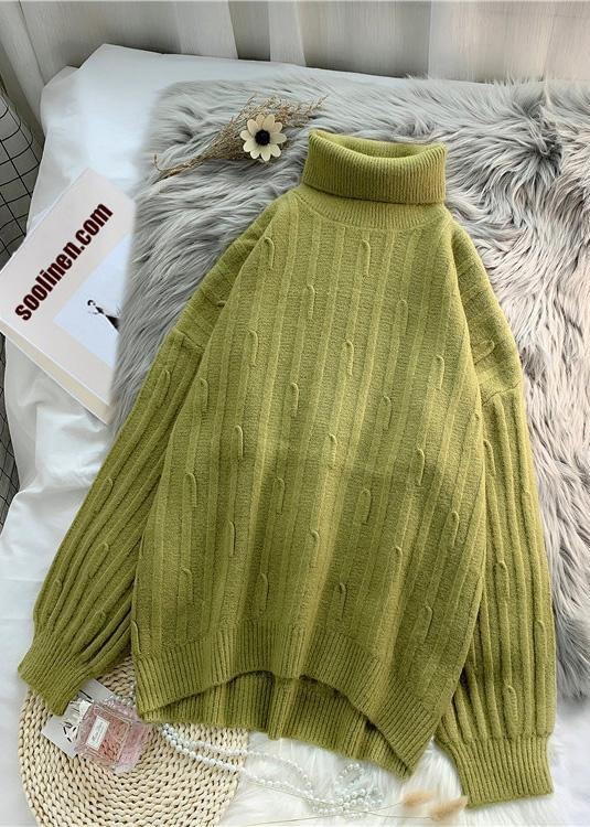 Aesthetic green Blouse cable casual high neck knitwear