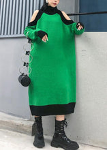 Load image into Gallery viewer, Aesthetic green Sweater Wardrobes DIY high neck Funny off the shoulder sweater dresses