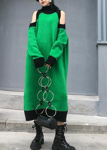 Aesthetic green Sweater Wardrobes DIY high neck Funny off the shoulder sweater dresses