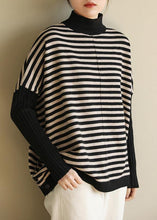 Load image into Gallery viewer, Aesthetic half high neck striped knit tops Loose fitting patchwork box top