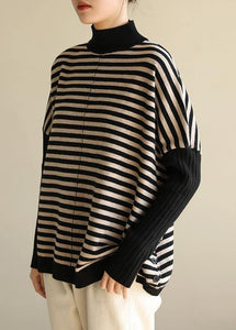 Aesthetic half high neck striped knit tops Loose fitting patchwork box top