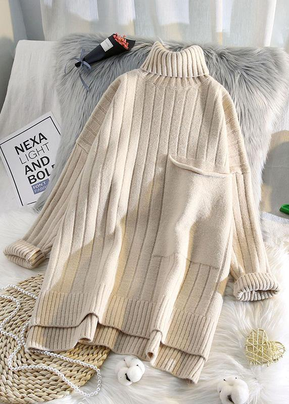 Aesthetic high neck beige knit sweat tops spring fashion low high designknit blouse