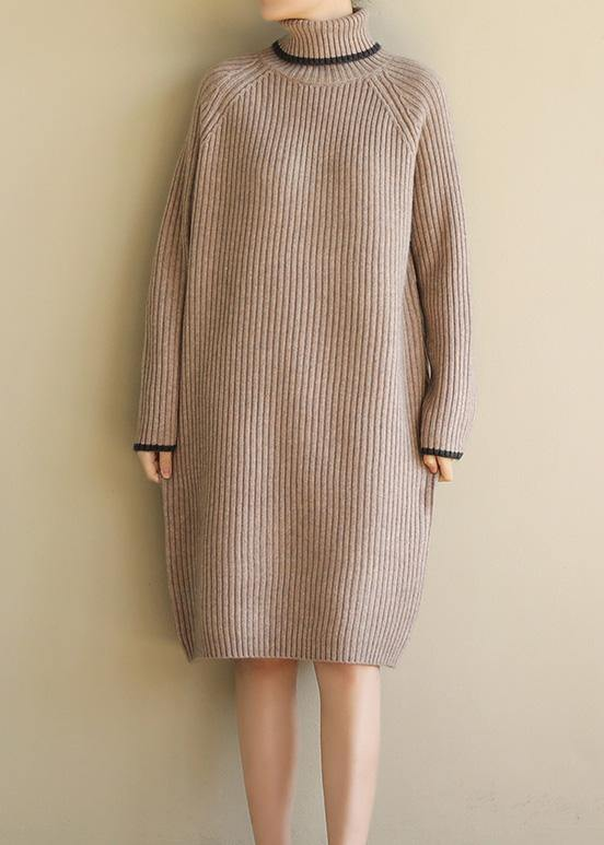 Aesthetic khaki Sweater dress outfit plus size wild tunic high lapel collar knit dress