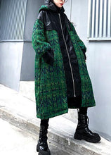 Load image into Gallery viewer, Aesthetic knitted coat trendy plus size green hooded zippered coats