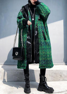Aesthetic knitted coat trendy plus size green hooded zippered coats