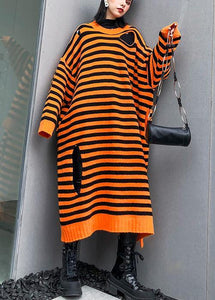 Aesthetic o neck Hole Sweater fall dress DIY orange striped daily knitted  dress