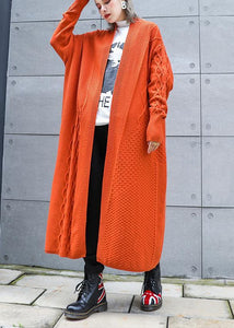 Aesthetic orange plus size winter knit baggy outwear
