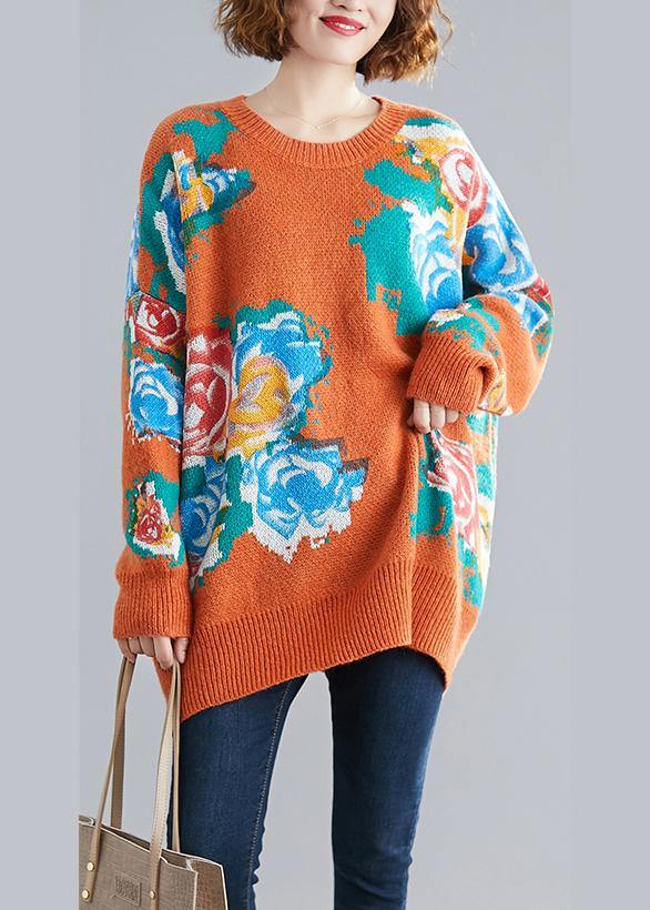 Aesthetic orange print knit tops o neck plus size knitwear