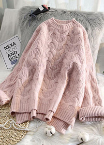 Aesthetic pink crane tops low high design casual spring knit tops
