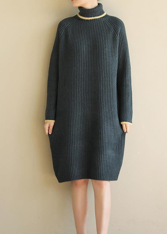 Aesthetic slim Sweater high lapel collar dresses Vintage army green daily knitwear