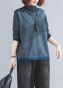 Aesthetic spring blue striped knit tops plus size clothing high neck clothes For Women