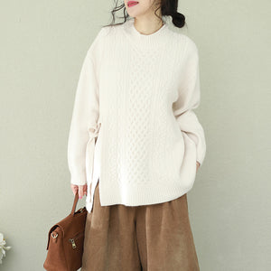 Aesthetic white Sweater weather Beautiful o neck Bow Hipster knit top