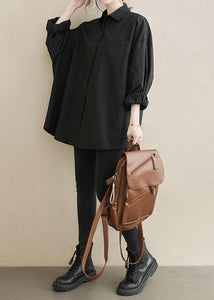 Art Lapel Pockets Spring Tunic Top Shirts Black Top