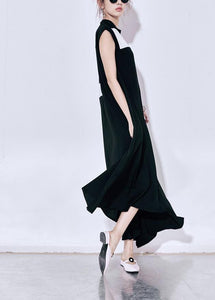 Art black chiffon Wardrobes Boho Christmas Gifts patchwork big hem Robe Summer Dress