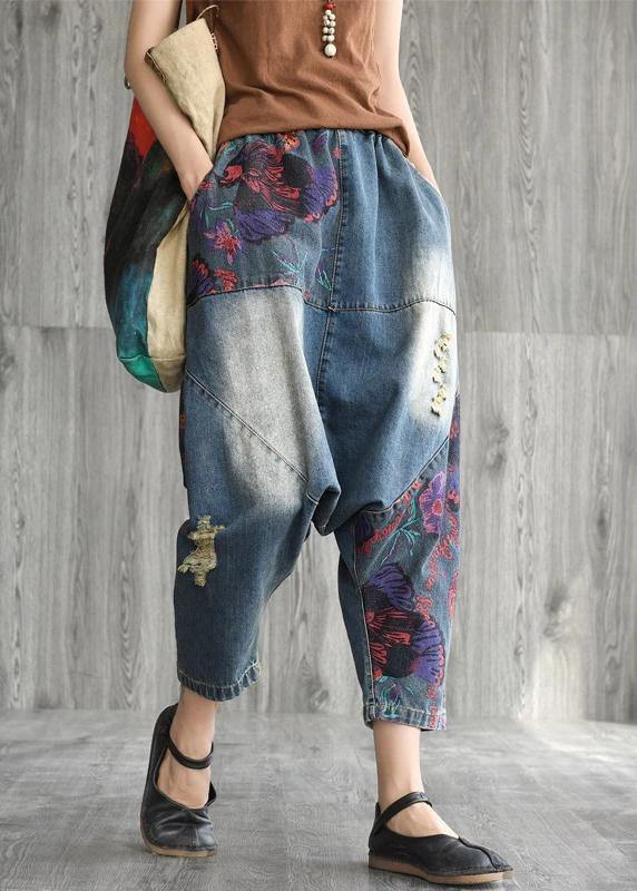 Art cotton clothes Women Casual Printed Frayed Low Crotch Jeans