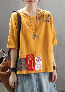 Art cotton tunic top Pakistani Summer yellow Loose Retro Ripped Hole Embroidery T-Shirt