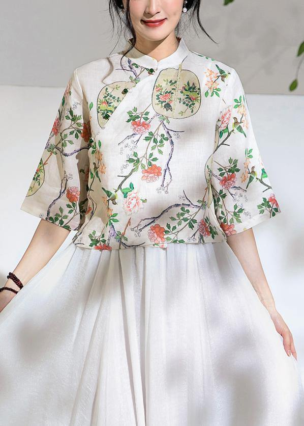 Art floral linen blouses for women half sleeve oversized stand collar shirts