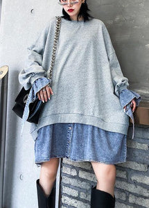 Art gray Blouse o neck false two pieces oversized blouses