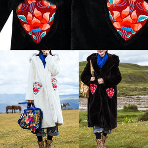 Art hooded Fine embroidery clothes For Women black loose jackets