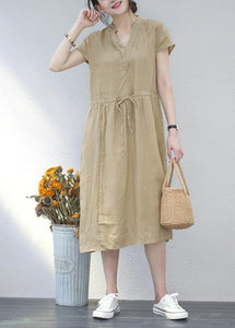 Art khaki linen clothes For Women v neck drawstring long summer Dresses