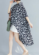 Load image into Gallery viewer, Art lapel asymmetric chiffon clothes Fine Neckline black dotted shirt Summer