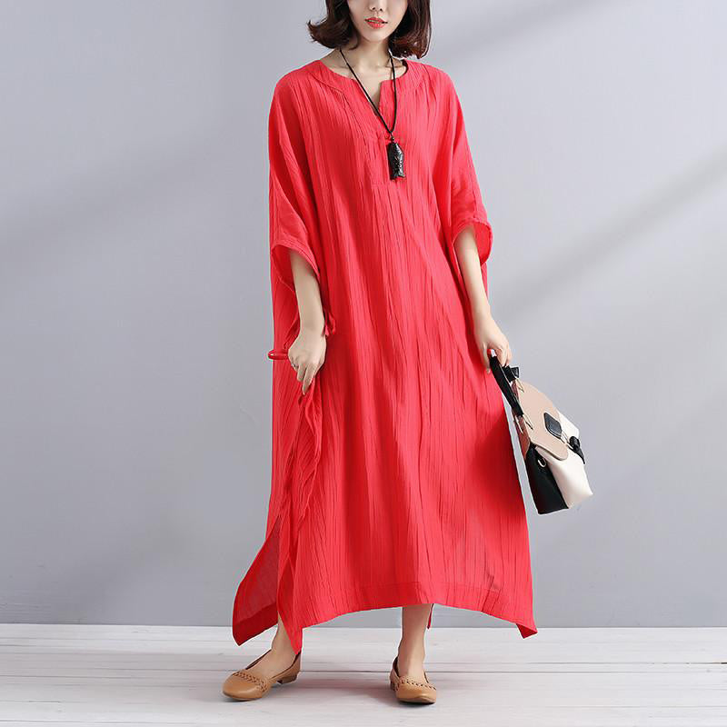 e43f1355837 Art linen clothes For Women Vintage Summer V Neck Slit Loose Casual Red  Dress ...