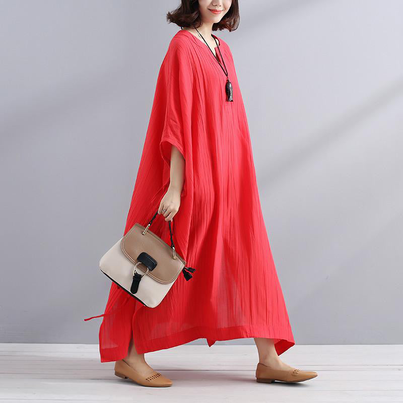 59d874f6d24 ... Art linen clothes For Women Vintage Summer V Neck Slit Loose Casual Red  Dress ...