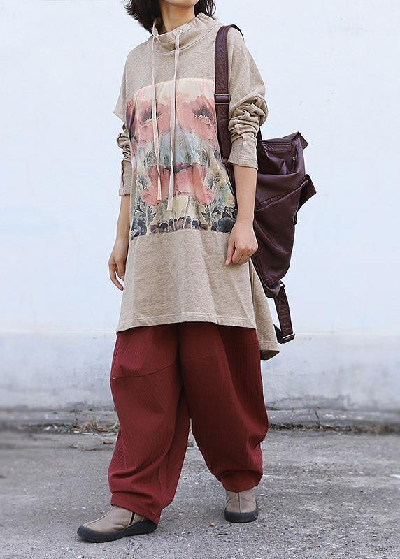 Art nude Appliques cotton clothes high neck drawstring fall tops