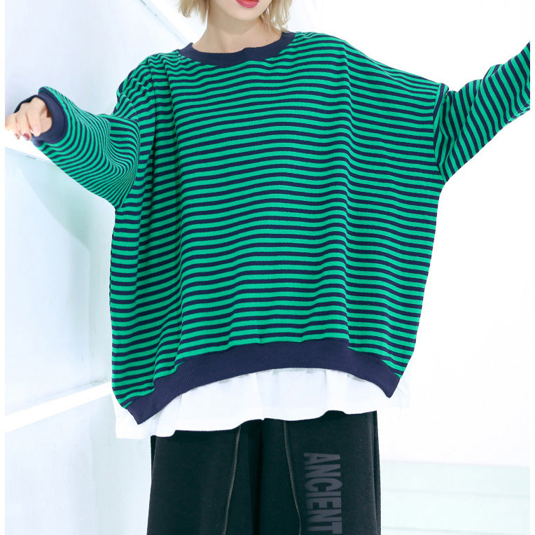 Art o neck Batwing Sleeve cotton top quality Sewing striped silhouette top