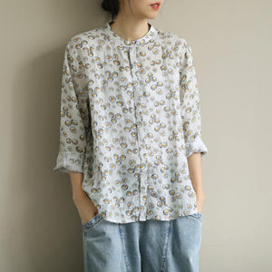 Kunst o Hals Button Down Shirts Work Outfits gelb bedruckte Shirts