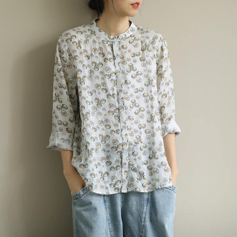 Art o neck Button Down shirts Work Outfits yellow print shirts
