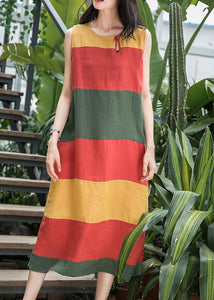 Art o neck Sleeveless linen clothes For Women Inspiration red striped Dress summer
