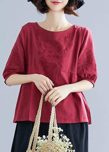 Art o neck embroidery cotton Blouse Sewing burgundy shirt summer