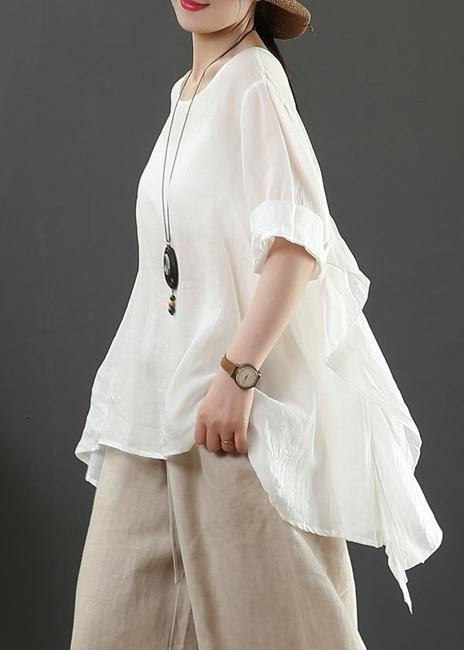 Art o neck half sleeve linen blouses for women white shirts