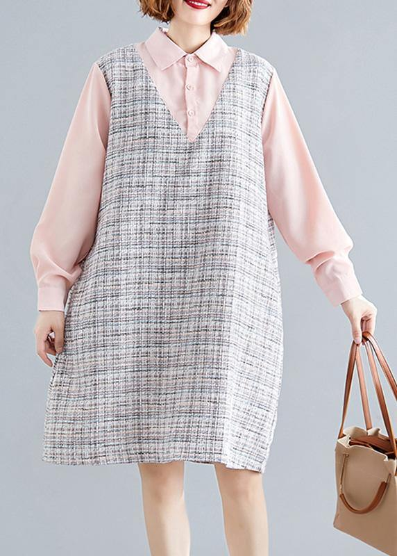 Art pink patchwork Plaid linen clothes For Women long sleeve false two pieces shift fall Dress
