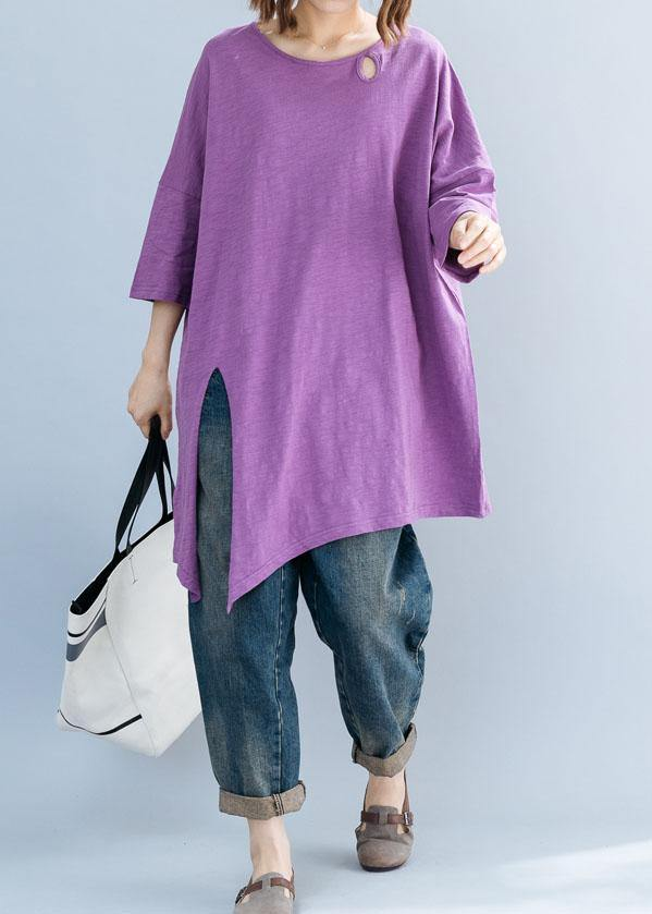 Art purple o neck cotton box top asymmetric hem Plus Size Clothing summer top