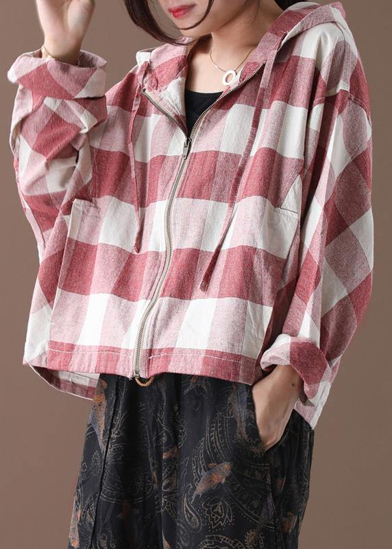 Art red white plaid Fine clothes Shape hooded coat
