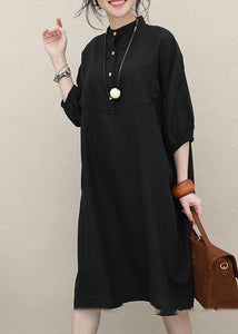 Art stand collar Batwing Sleeve linen summer outfit Photography black Dress