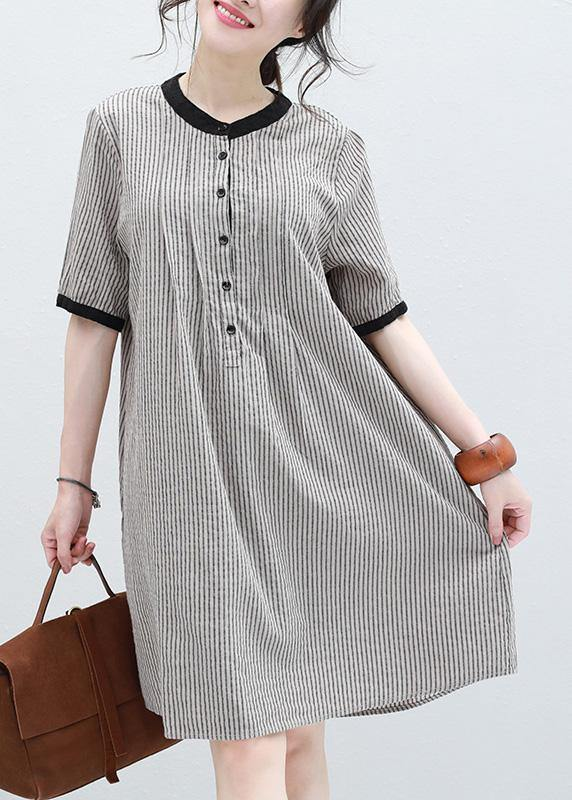 Art striped linen clothes short sleeve Plus Size summer Dresses