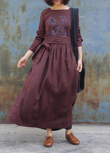 Art tie waist linen embroidery dresses Tunic Tops brown Dress