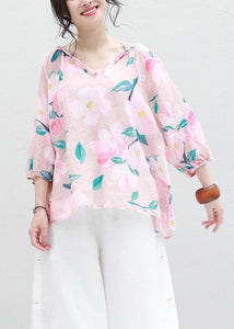 Art v neck linen box top Shirts pink prints blouses summer