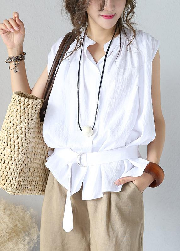 Art white cotton Shirts stand collar sleeveless Vestidos De Lino summer shirts